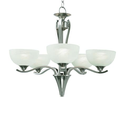 Contemporary Brushed Nickel Chandelier Shop Portfolio Contemporary 5 Light Brushed Nickel Chandelier At Lowes