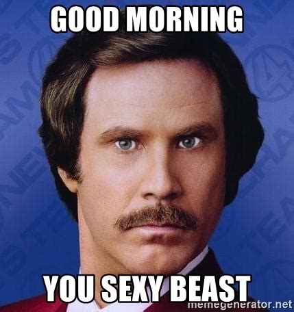Sexy Beast Meme - good morning you sexy beast ron burgundy meme generator