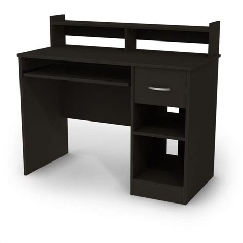 shore office furniture south shore axess small wood computer desk with hutch in black 7270076