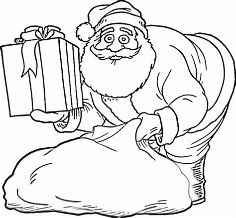 gift bag coloring page coloring pages of santa claus with gifts bag 2014