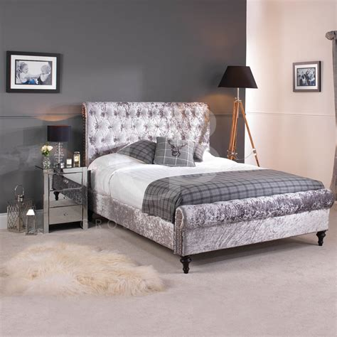 grey velvet bed new premium silver grey crushed velvet chesterfield