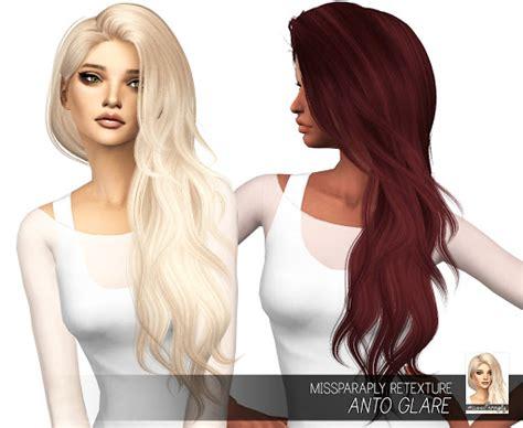 custom content hair anto glare hair retexture in 64 colors sims 4 custom content