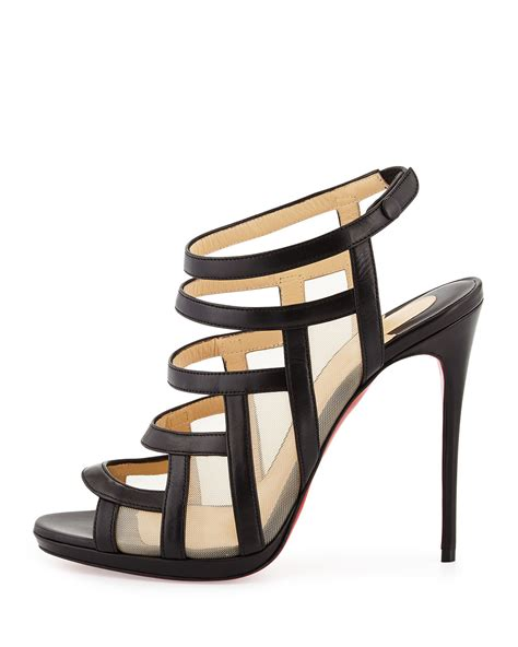 Christian Louboutin Hyde Park Sandals by Lyst Christian Louboutin Mesh Inset Caged
