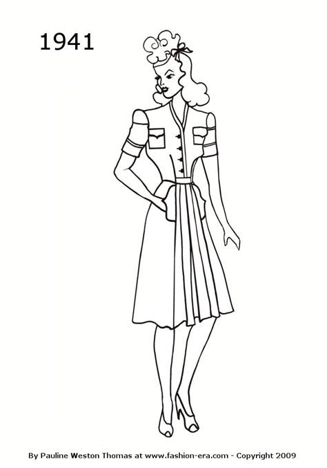 Fashionable Coloring Pages 2 Fashion Silhouettes 1941 Free Women S Line Drawings 1941 by Fashionable Coloring Pages 2