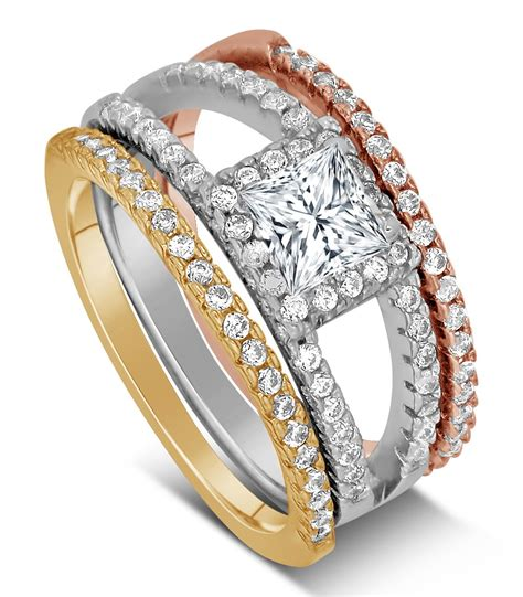 2 carat princess cut tri color white and yellow gold