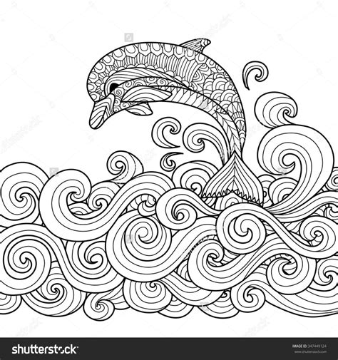 dolphin coloring book zentangle dolphin with scrolling sea wave for