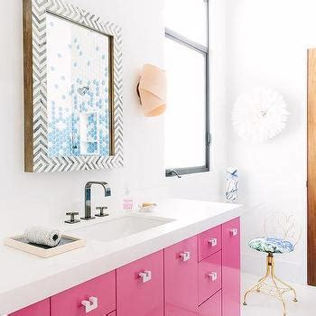 pink bathroom mirror black and white chevron vanity mirror design ideas