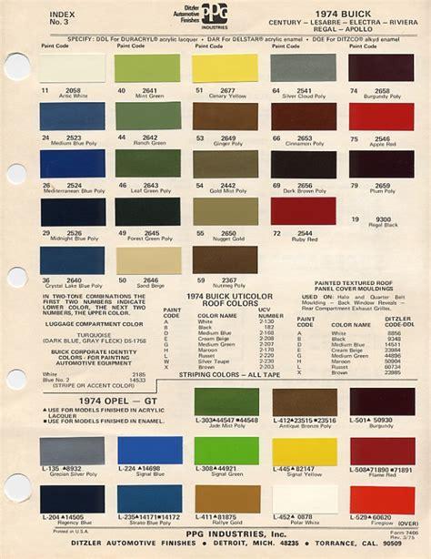1974 paint codes
