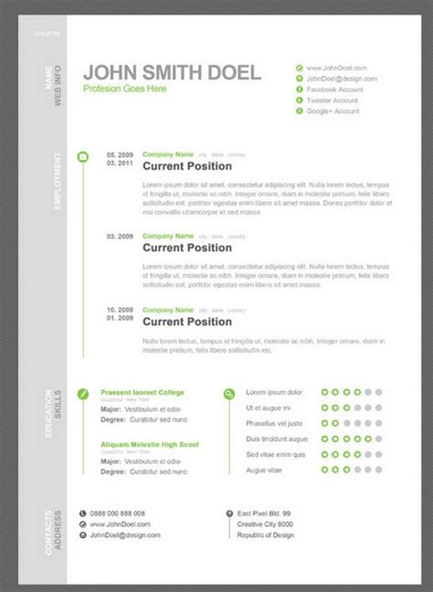 Free Awesome Resume Templates by 35 Free Creative Resume Cv Templates Xdesigns