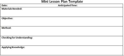 mini lesson plan template search results for daily 5 lesson plan template