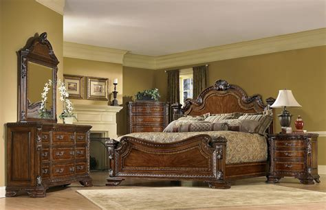 Antique Curved Footboard Bed Old World 5 Piece King Traditional European Style Bedroom