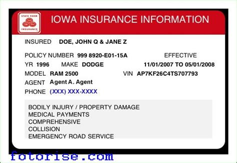 Insurance Card Template by State Farm Insurance