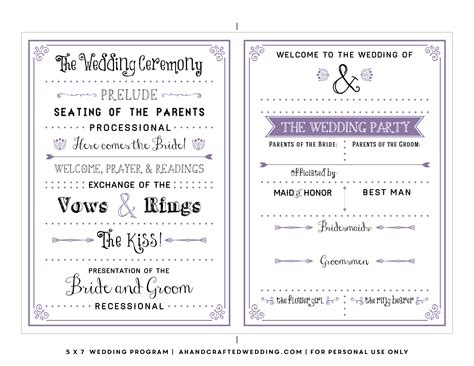 free printable wedding program templates word 8 best images of printable wedding program templates free