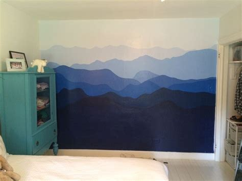 blue ridge mountains painted  bedroom wall mountain