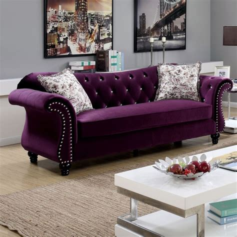 purple tufted sofa purple velvet tufted sofa bed futon