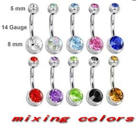 Anting Pusar Belly Ring Naval Ring gem belly ring belly bar navel ring mixing 10 colors jewelry on aliexpress
