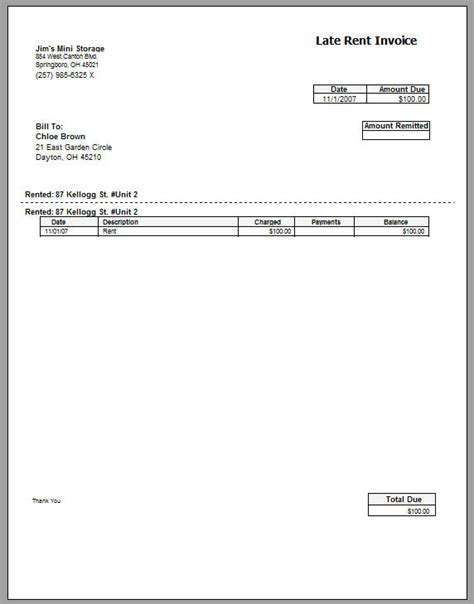 equipment invoice template late rent invoice