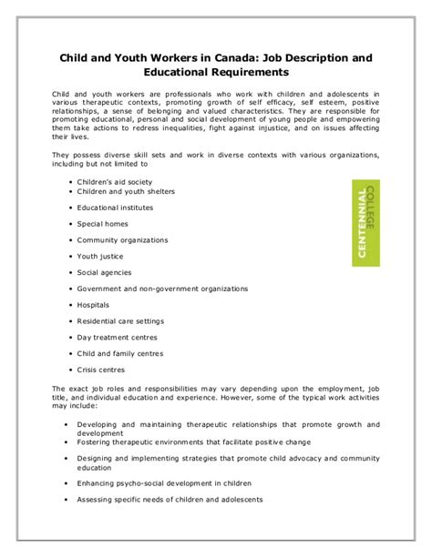 child and youth workers in canada description and