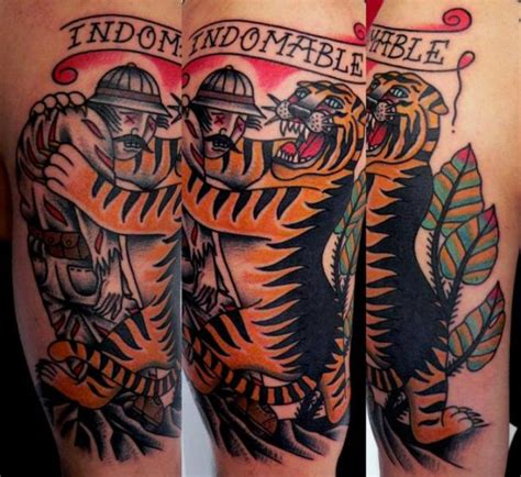 old school tiger tattoo arm school tiger by last port