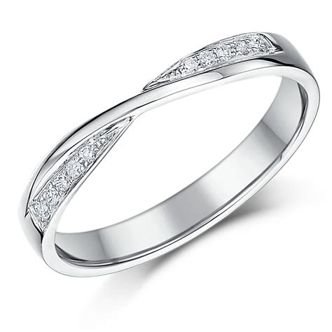 3mm 9ct white gold crossover wedding ring 9ct
