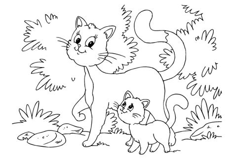 mama cat coloring page coloriage chat et chaton img 22643