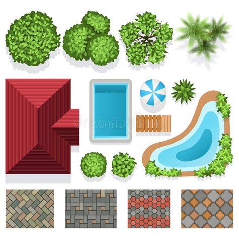 patio designs the key element to enhance and accessorize landscape garden design vector elements top view stock