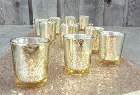 48 or 60 gorgeous glittery gold mercury glass candle