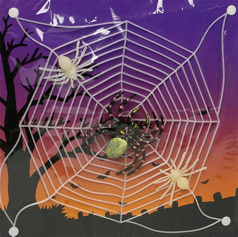 glow in the spider web decorations and fancy dress costumes vegaoo