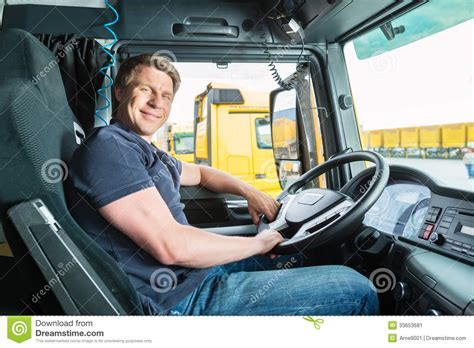 trucker to trucker forwarder or truck driver in drivers cap stock image