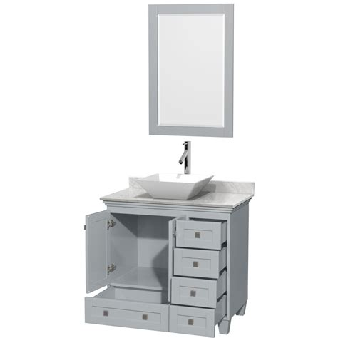 Accmilan 36 Inch Vessel Sink Bathroom Vanity In Grey 36 Inch Bathroom Vanity
