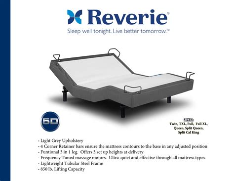 reverie 5d adjustable bed with wireless remote