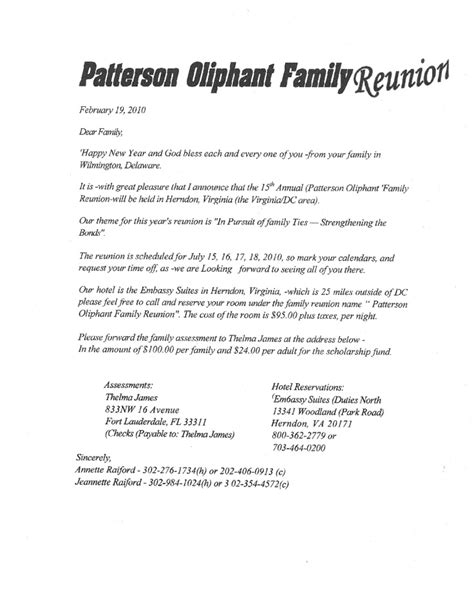 family reunion letter template printable exle of family reunion program patterson oliphant family reunion family