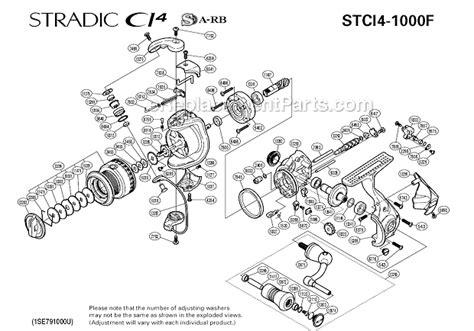 shimano stradic parts diagram shimano stci4 1000f parts list and diagram