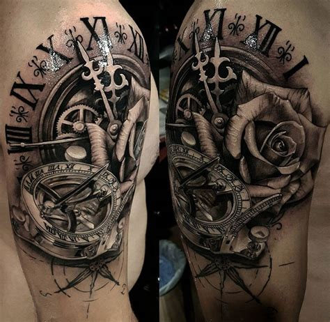 rose and clock tattoo meaning compass symbolism meaning gives true direction