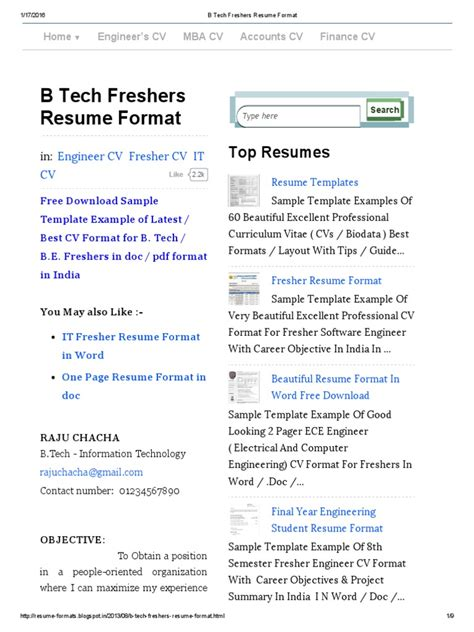 Resume B Tech Computer Science by Resume For B Tech Computer Science Student Resume