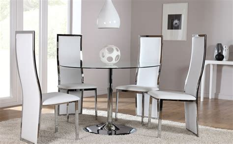 glass dining room tables and chairs orbit round glass chrome dining room table and 4 chairs