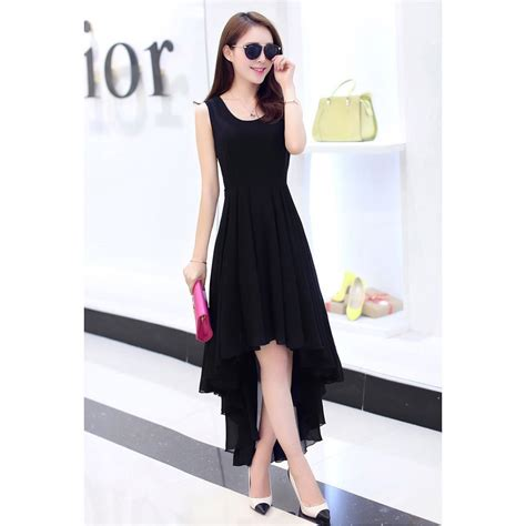 Dress Pakaian Terusan Wanita Black Dress Chiffon L 318849 dress wanita chiffon dovetail style size l black jakartanotebook
