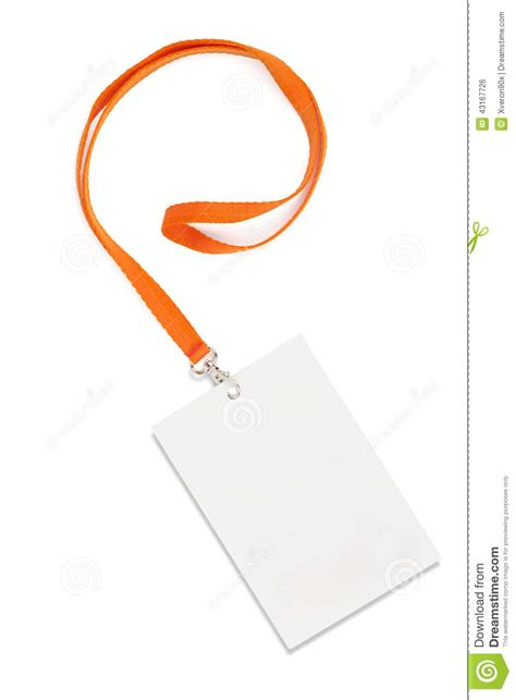 name tag with lanyard on white stock photo image 43167726