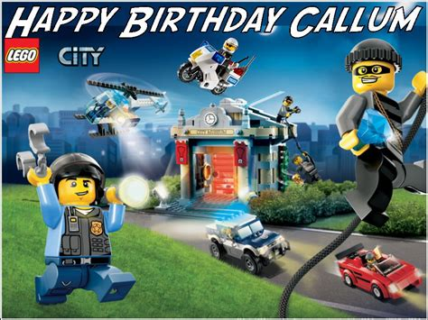 a4 personalised lego city police edible icing or wafer