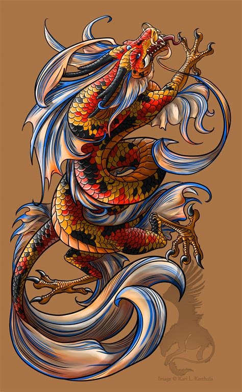 koi dragon tattoo koi outlinehelenasaurus