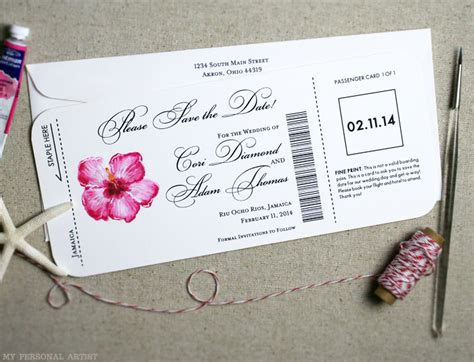 Airline Ticket Gift Card - airline ticket wedding save the dates hibuscus design mospens studio