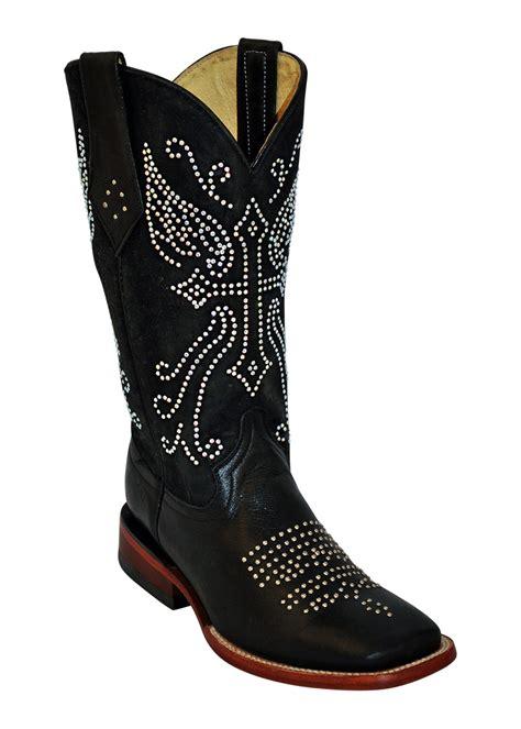 ferrini black rhinestone s toe leather