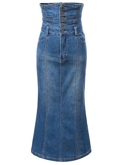 wash high waist a line mermaid denim skirt blue