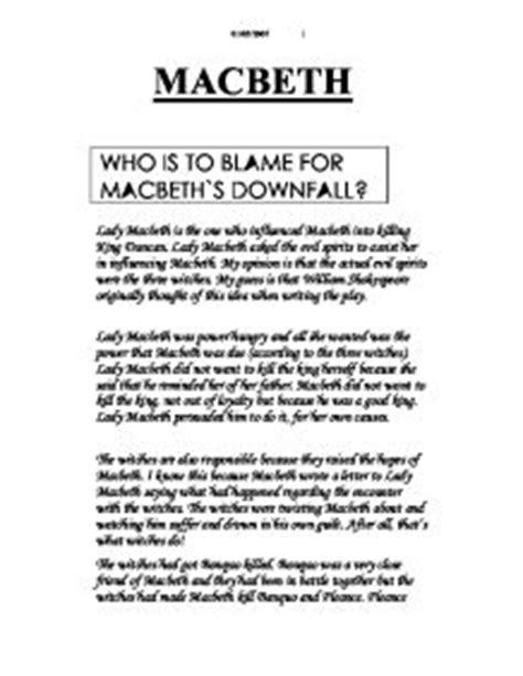 Macbeth Downfall Essay by Essays Macbeth