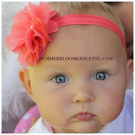 Headband Baby Jingga Flower 2 coral headband baby headband flower headband coral headband infant headband elastic