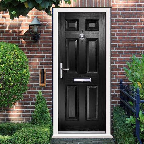 External Virtuoso Carlton Solid Composite Door Shown In Black Composite External Front Doors