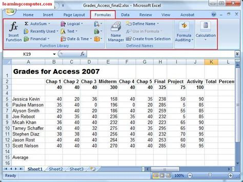 pattern command exle microsoft excel formulas tab tutorial learn ms excel 2007