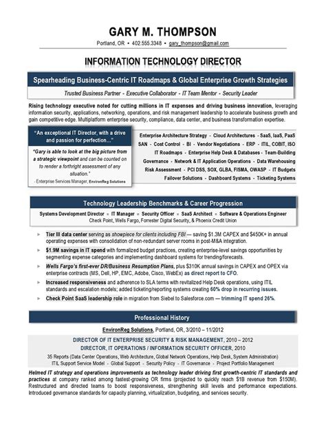 It Director Resume by It Director Sle Resume It Resume Writer Technical
