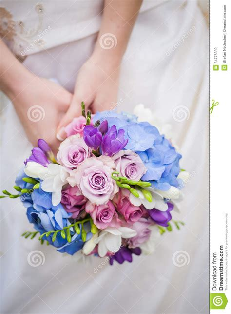 blue pink and white wedding hold colored blue pink wedding bouquet royalty free