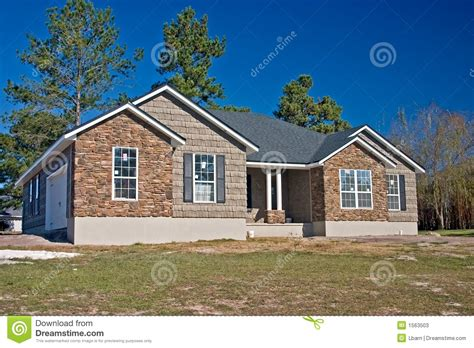New House Stone And Shake Exterior Stock Photos Image 1563503